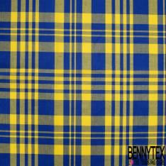 Coton Madras Imprimé Carreaux Bleu Roi Jaune