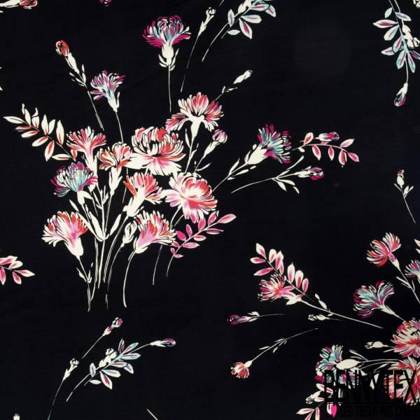 Crêpe Viscose Léger Fluide Motif Lancé de Fleur Crème Fushia fond Noir