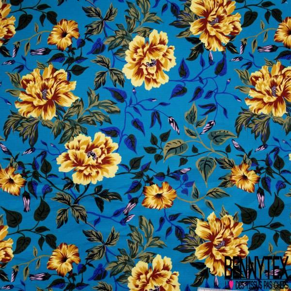 Coton Ottoman Elasthanne Motif Fleur esprit Vintage fond Azur