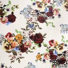 Crêpe Polyester Imprimé Grande Fleur Sauvage fond Blanc