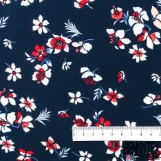 Crêpe Viscose Fluide et Léger Motif Petite Fleur Naïve Bleu Blanc Rouge fond Marine