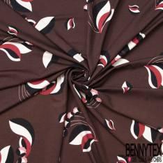 Jersey Coton Imprimé Tulipe Naïve Rétro fond Choco