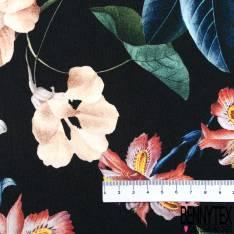 Polyester élasthanne Lourd Imprimé Grosse Fleur sur Tige fond Noir