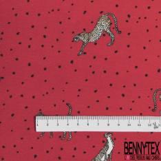 Jersey Coton Imprimé Léopard fond Rouge Tâche Noire