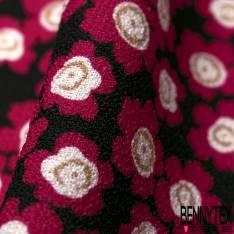 Crêpe Polyester Elasthanne Léger Fluide Imprimé Petite Pensée Rouge fond Noir