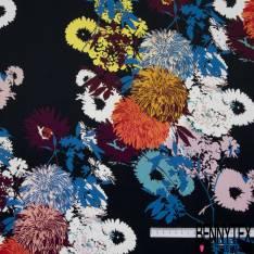 Crêpe Viscose Imprimé Bouquet Floral Seventies Explosif fond Noir