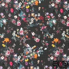Coton Elasthanne Motif Petite Fleur Multicolore fond Noir Pois Blanc