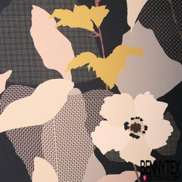Fibranne Viscose Lourde Imprimé Grande Fleur Seventies fond Fantaisie