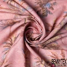 Toile Lin Coton Imprimé Palmier fond Rose