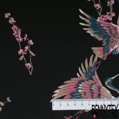 Satin Polyester Imprimé Colibris en Vol fond Mastique