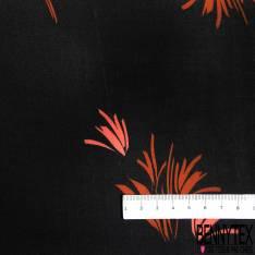 Satin Polyester Imprimé Touffe d(Herbe Naïf camel fond Noir