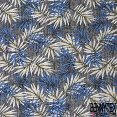 Toile Coton Polyester Elasthanne Motif Feuille Tropicale fond Strié Noir Ecru