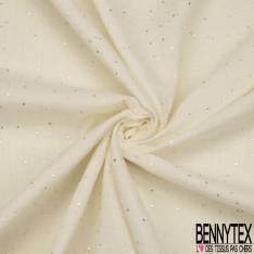 Coton Double Gaze Blanc Cassé Pastille Relief Argent