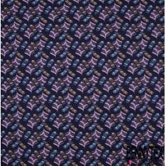 Jersey Coton Imprimé Squelette de Feuille Rose Bleu fond Marine