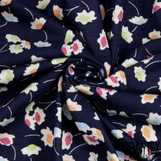 Jersey Coton Imprimé petite Fleur Champêtre Ecru fond Marine