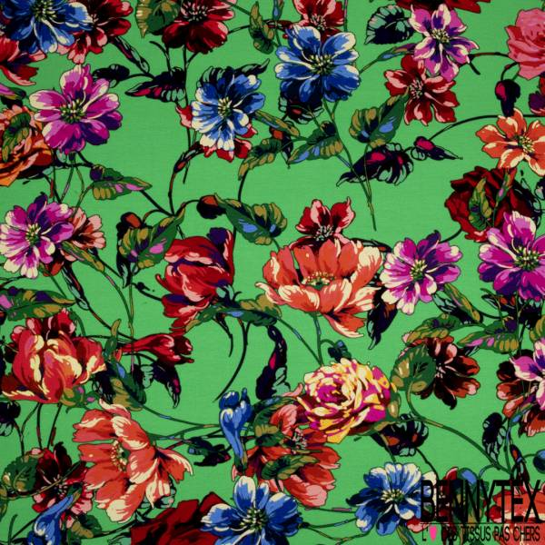 Jersey Viscose Imprimé Grosse Fleur fond Vert