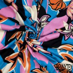 Jersey Viscose Imprimé Motif Fleur de Tiarée fond Bleu Lagon