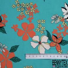 Fibranne Viscose Imprimé Grande Fleur de Tiarée fond Turquoise