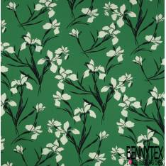 Crêpe Polyester Elasthanne Imprimé Grand Iris fond Vert