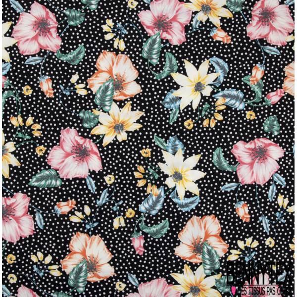 Crêpe Polyester Imprimé Grande Fleur Arc en ciel fond Noir Pois blanc