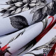 Crêpe Polyester Imprimé Grande Fleur Pivoine fond Gris Bleûté