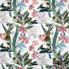 Crêpe Polyester Imprimé Bouquet Tropicale fond Rouge Mat