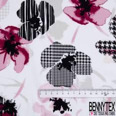 Voile de Coton Imprimé Fleur Fantaisie fond Blanc