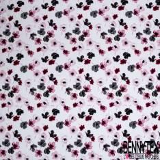Voile de Coton Imprimé Petite Fleur Fantaisie fond Blanc