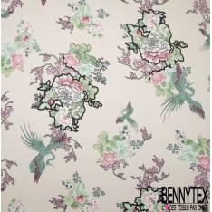 Crêpe Polyester Imprimé Fleur et Grue Japonisante fond Rose Pastel