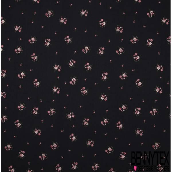 Fibranne Viscose Imprimé Petit Bouquet de Fleur Sauvage fond Noir