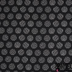 Crêpe Polyester Imprimé Boule à Facette Blanche Pois fond Noir