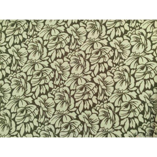 Javanaise Polyester Imprimé Blanc Casse fond Vert Olives
