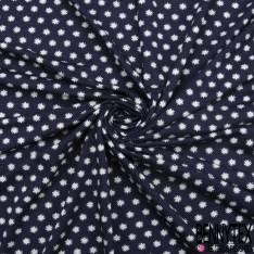Jersey Viscose Imprimé Petit Soleil Fantaisie Blanc fond Bleu Nuit