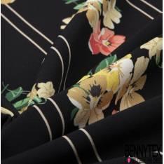 Crêpe Polyester Imprimé Rayure Verticale et Fleur Sauvage fond Noir