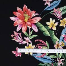 Crêpe Viscose Imprimé Grande Fleur Exotique Multicolore fond Noir