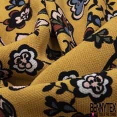 Crêpe Viscose Imprimé Petite Fleur Cachemire Vintage fond Moutarde