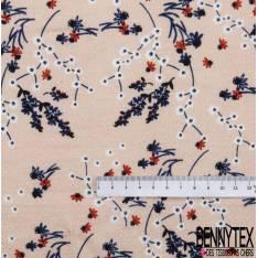 Coton Effet Tramé Motif Petite Branche de Fleur de Cerisier Stylisée fond Dragées