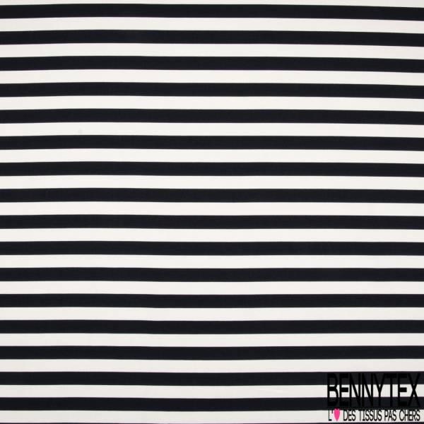 Coupon 3m Toile de Coton Imprimé Grosse rayure Coloris Blanc Noir