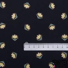 Crêpe Polyester Satiné Imprimé Floral Champêtre fond Nude