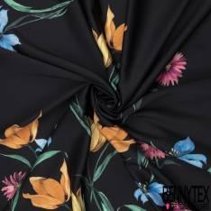 Crêpe Polyester Elasthanne Imprimé Grande Fleur avec Tige fond Noir