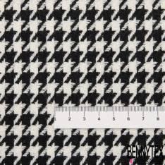Laine Polyester Pied de Poule Noir Blanc Cassé