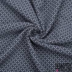Crêpe Polyester Imprimé Grand Iris Jaune Rose fond Ecru