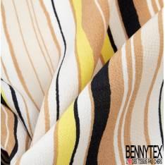 Crêpe Viscose Imprimé Rayure Ondulante Verticale Multicolore