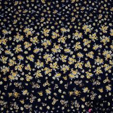 Crêpe Viscose Imprimé Petite et Moyenne Fleur Jaune fond Bleu Nuit