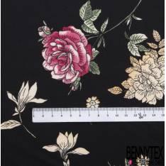 Crêpe Polyester Satiné Imprimé Floral fond Noir