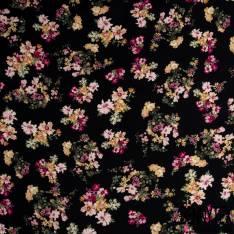 Crêpe Viscose Imprimé Petit Bouquet Floral Champêtre fond Noir
