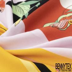 Double Panneau Crêpe Polyester Imprimé Floral Japonisant