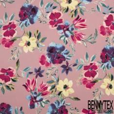 Crêpe Polyester Imprimé Grand Bouquet Floral Aquarelle fond Rose Poudré