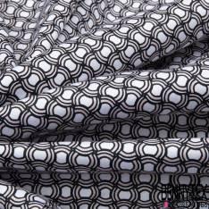 Coton Motif Géométrique Rond Marine Sable fond Blanc