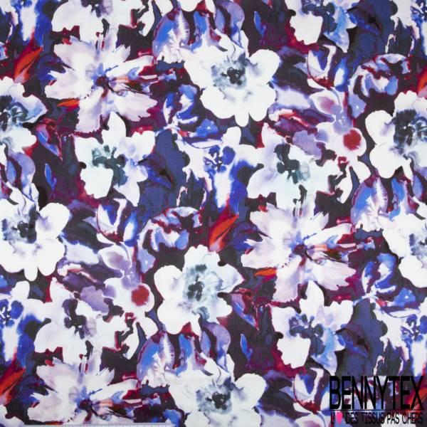 Crêpe Viscose Satiné Imprimé Grosse Fleur Ton Fushia Violet Blanc